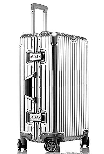 【3年間無料保証】 アルミニウムマグネシウム合金製スーツケース機内持ち込みスーツケーストラベルバッグキャリーバッグ静音キャスター自在車 ((1801モデル) シルバー, M)