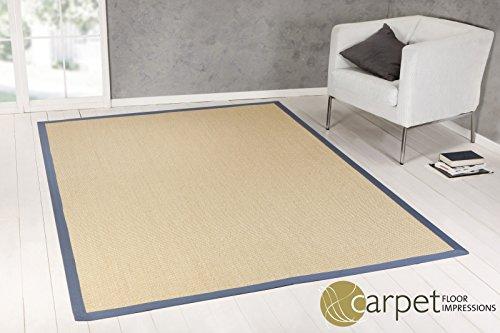 Astra Sisal Teppich Manaus mit Astra Care Sondermaß auf Anfrage, kostenloser Musterversand (007021 natur Bordüre blau,(12) 200X200 cm)
