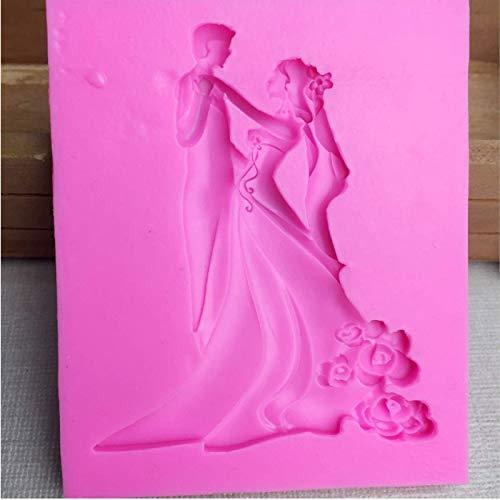 Braut Bräutigam Tanz Fondant Silikonformen Kuchen Dekorationswerkzeug Zucker Handwerk Schokolade Hochzeit Design Gumpaste Form Gelee Formen 9,2 * 7,7 cm