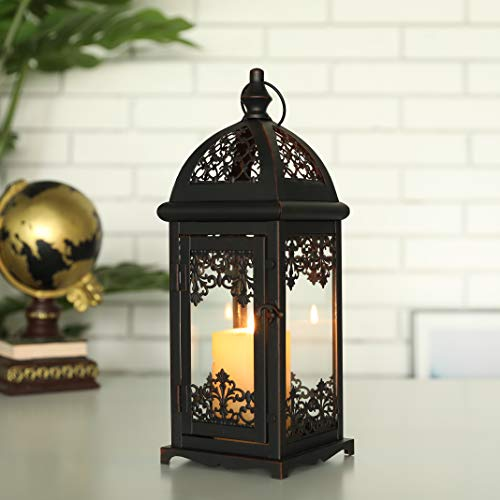 JHY DESIGN Decorative Candle Lantern 13.5' High Metal Candle Lanterns Vintage Style Hanging Lantern for Indoor Outdoor, Events, Parities,Weddings(Black with Red Brush)