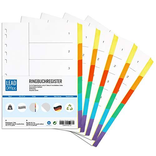 Ringbuchregister, 5er Set, Register mit je 6 Taben in 6 Farben, 29,6 x 21,1 cm, gelocht, 160g/m², DIN-A4 Format, Trennblätter mit beschreibbarem Deckblatt für A4 Ordner