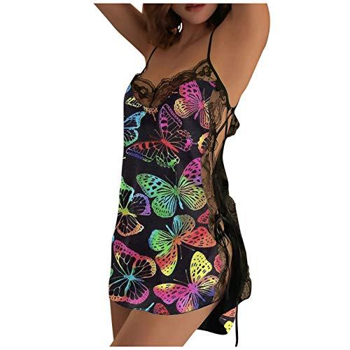 Pigiama Donna Raso Estivo Corto Intimo Camicie da Notte Donna estive Seta Sexy Babydoll Sleepwear Carino Pigiama da Notte Donna 2 Pezzi