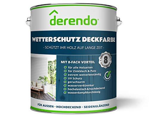 Derendo Holzfarbe weiß, 2,5L seidenglänzend, Wetterschutzfarbe für Außen, Holzschutzfarbe mit hoher Deckkraft, wasserverdünnbar (2,5L, weiss)