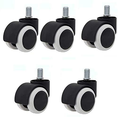 YANJ Sedia da Ufficio 5 Single-Axis Universale Sedia Girevole Ruota 3 Modelli di mobili PU Black PU Protezione Universale Mute Mute - con Strumenti di Installazione (Color : B)