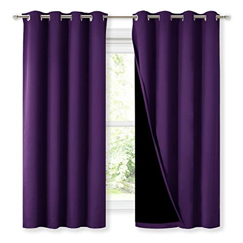 NICETOWN 100% Blackout Curtain Panels, Thermal Insulated Black Liner Curtains for Kitchen, Noise Reducing and Heat Blocking Drapes for Windows (Set of 2, Royal Purple, 52-inch Wide by 63-inch Long)