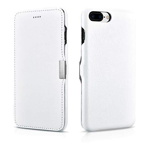 Mobiskin Hülle kompatibel mit Apple iPhone 8 Plus & iPhone 7 Plus (5,5 Zoll), Handyhülle mit echtem Leder, Hülle, Schutzhülle, dünne Handy-Tasche, Slim Cover, Weiß