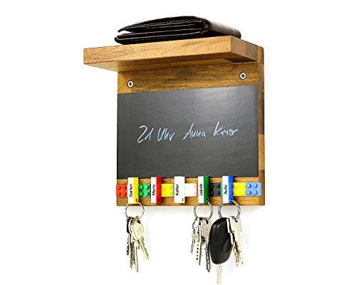 Schlüsselbrett Play 205 Holz für die ganze Familie | Schlüsselboard mit Ablage | Schlüsselleiste Nussbaum mit 5 Schlüsselanhängern zum selbst beschriften | Memoboard Tafel mit Kreidestift | bunt