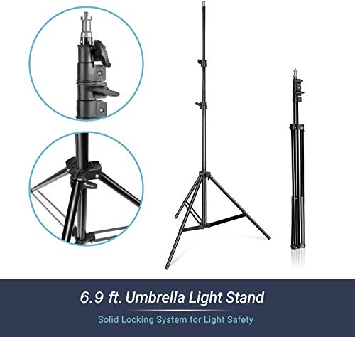 LimoStudio Continuous Light White Umbrella Reflector Lighting Kit with 33 inch Umbrella and 6500K Light Bulb for Camera Video Studio Shooting, AGG1754