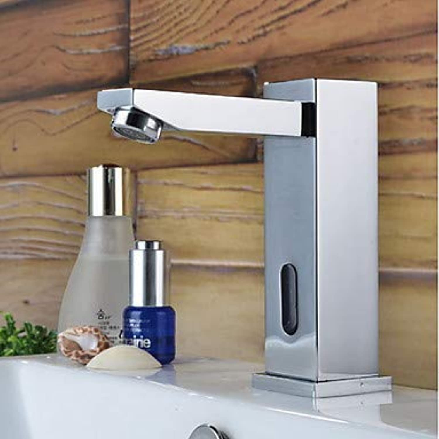 Mangeoo Bathroom Sink Faucet - Widespread Sensor Electroplated Free Standing Hands Free One Holebath Taps Brass