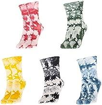 Bassom Women's Colorful Tie-dye Cotton Dress Socks, 5 Pairs Soft Crew Tube Casual Socks Set