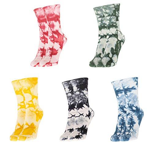 Bassom weiche Batik-Socken aus Baumwolle, bunt, lässig, dünn, weich, atmungsaktiv, 5 Stück