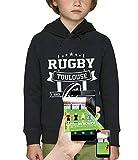 PIXEL EVOLUTION Sweat à Capuche 3D Rugby Toulouse en Réalité Augmentée Enfant - Taille 10 Ans - Noir