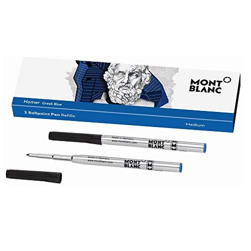Para todos los bolígrafos Montblanc excepto Meisterstück Hommage à W.A. Mozart Recambio de bolígrafo mediano Color: azul griego Homer. 2 unidades.