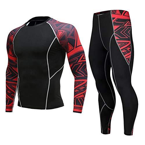 JJZZ Sous-vêtement thermique homme Hommes Compression Run Jogging Costumes Vêtements Sports Set T-Shirt Long Et Pantalon Gym Fitness Séance Collants Vêtements 2Pcs / Ensembles