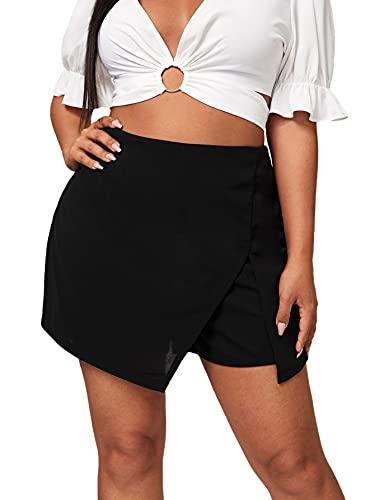 Floerns Women's Plus Size Asymmetrical Skorts High Waisted Skirts Shorts Black 1XL