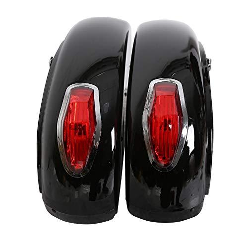 Black Hard Saddle Bag Trunk Luggage w/Lights Mount Bracket Motorcycle Cruiser