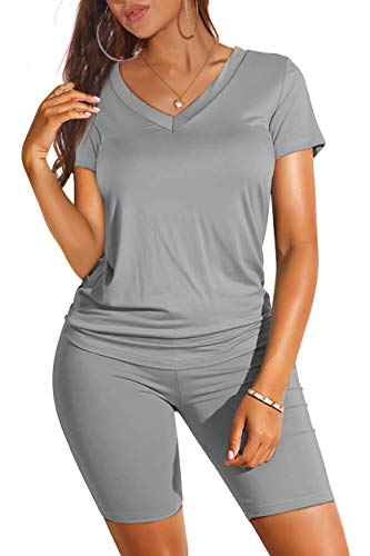 Summer Outfits for Women Plus Size High Waisted Legging Set Grey L
