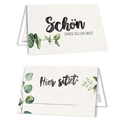 50 Tischkarten Hochzeit Sitzplatzkarten Platzkarten Namensschilder Namenskarten 50er Set Evergreen Love Eukalyptus grün
