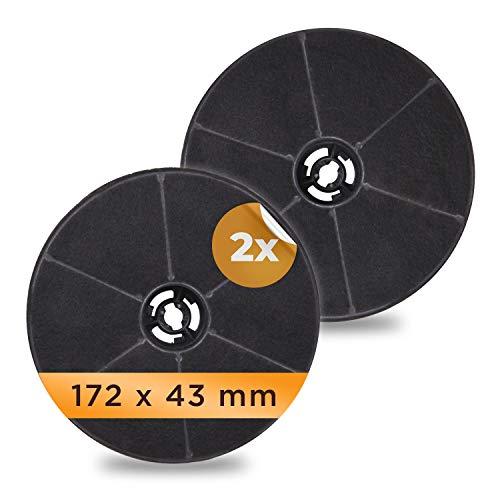 Juego de 2 filtros de carbón activo de repuesto para campanas extractoras AKPO 90, WK-4, Dandys, Rustica, WK-5, WK-7, WK-Light, 17,2 x 17,2 x 4,3 cm