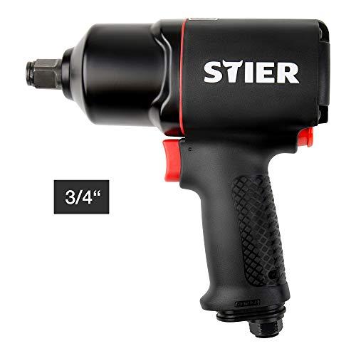 STIER Druckluft Schlagschrauber 23-TR, 3/4 Zoll Antrieb max. Lösemoment: 1.756 Nm, Hochleistungs-Doppelhammer-Schlagwerk