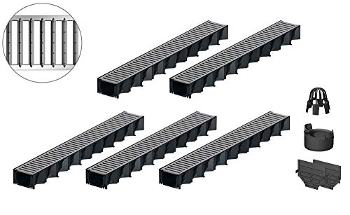 5x1m ACO Hexaline 2.0 Entwässerungsrinne Stegrost Stahl verzinkt Ablauf vertikal Bodenrinne Terrassenrinne