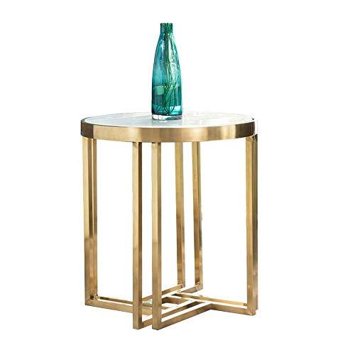 Mesa auxiliar móvil, mesas 19.68in Sala de estar moderna Mesa de centro con extremo lateral redondo, mesita de noche, marco de metal con mesa de centro de mármol Color: dorado, tamaño: 19.6819.6821.6