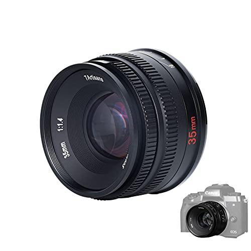 7artisans 35mm F1.4 Objektiv APS-C MF Kameraobjektiv kompatibel mit EOS M M1、M2、M3、M5、M6、M6II、M10、M100、M50(schwarz)
