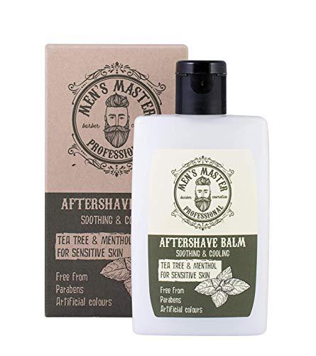 """Bálsamo Aftershave en Crema""""Árbol de té y mentol"""" para después del afeitado, para pieles sensibles con efecto refrescante. Sin parabenos, sin colorantes artificiales, 120 ml de Men"""
