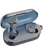 TOZO T10 TWS Bluetooth-hörlurar trådlösa in-ear hörlurar sport Bluetooth 5.0 IPX8 vattentätt headset med trådlöst laddningsfodral mikrofon premium ljud bas blå