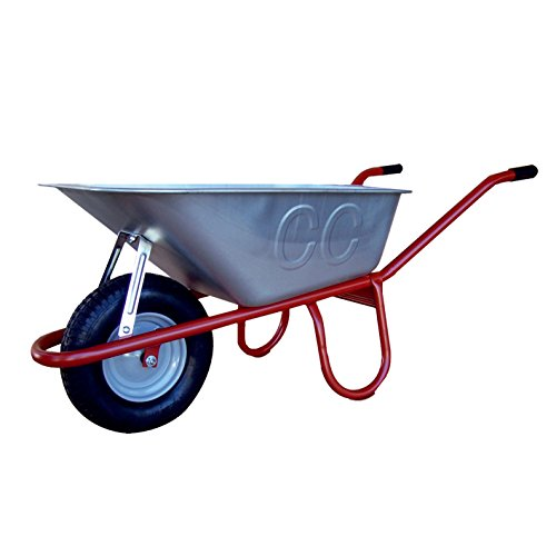 Diepuitdeukwagen Ibau - kruiwagen voor tuin & bouwplaats - 100 liter volume, luchtband op stalen velg