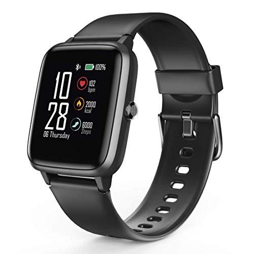 Hama Smartwatch 5910, GPS, wasserdicht (Fitnesstracker für Herzfrequenz/Kalorien, Sportuhr mit Schrittzähler, Schlafmonitor, Musiksteuerung, Fitness Armband Damen/Herren, 6 Tage Akkulaufzeit) Schwarz