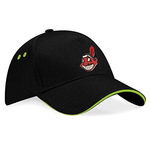 subla2017 Cleveland Indians Baseball Bestickte Logo Baseball Cap Mütze - k 92 (sw-grün)