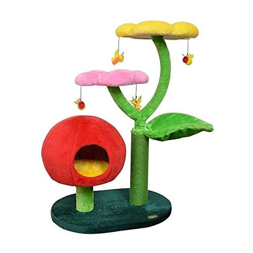 Bonito Árbol para Gatos de 80cm Torre para Gatitos Condominio de Felpa con Calabaza Perchas de Felpa Acolchadas con Flor Postes para Rascar de Sisal Juguetes Colgantes de Abejas