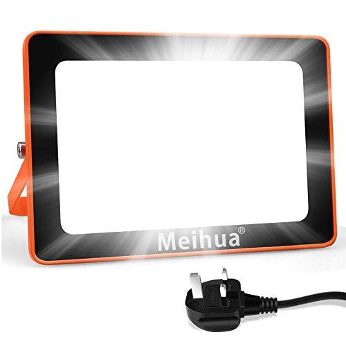 MEIHUA LED Floodlight 35W, Flood Lights Outdoor 6500K Super Bright Daylight White IP66 Waterproof Orange Work Lamp for Home Lighting Garden Garage Workshop Job Site 1.1M Wire with UK Plug
