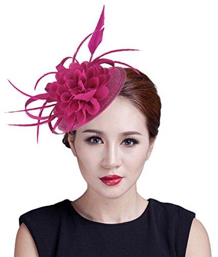 V-SOL GEMVIE Mujer Tocado de Boda Fiesta Accesorios de Pelo Rosa 2