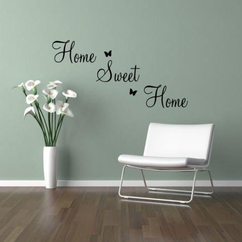 "Pegatina Mural Decorativa de Vinilo con Diseño de Frase \""Home Sweet Home\"" - Grande, Vinilo, Negro"