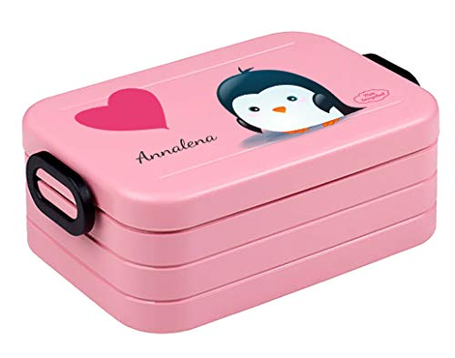 """Mein Zwergenland Bento Brotdose   Take a Break midi   Personalisierte Brotbox mit Namen für Kinder   Lunchbox Kinder mit Zwei Klappverschlüssen   Nordic Pink   """"Pinguin"""""""