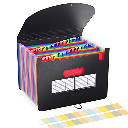 BluePower Carpeta Clasificadora/Archivador Acordeon 24 Bolsillos Carpetas con Fundas de Plastico,Colores Acordeón Separadores Archivadora,A4 Archivadores Papeles Clasificador Documentos Organizador 🔥