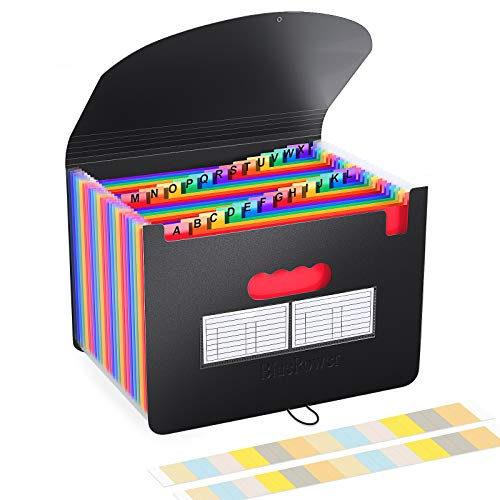 BluePower Carpeta Clasificadora/Archivador Acordeon 24 Bolsillos Carpetas con Fundas de Plastico,Colores Acordeón Separadores Archivadora,A4 Archivadores Papeles Clasificador Documentos Organizador ⭐