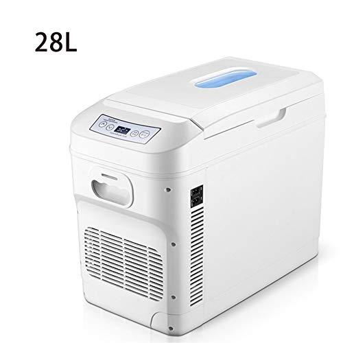 Draagbare elektrische koelbox voor auto, 28 l, klein, voor slaapkamer, dubbel gebruik in de koelkast 28LWhite