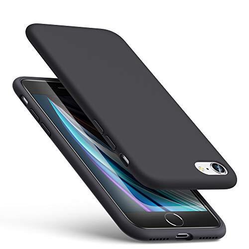 ESR Silikon Hülle kompatibel mit iPhone SE(2020)/8/7, Liquid Silikon Hülle [Angenehmer Handgriff] [Bildschirm und Kameraschutz] [Samtig-weiches Innenfutter] [Stoßabsorbierend] für iPhone SE/8/7 2020 - Schwarz