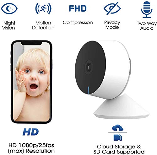 Laxihub Baby Camera WiFi 1080P FHD, M1 Baby Monitor with Crying & Motion Detection, 2 Way Audio, Night Vision, Smart Home Camera Compatible with Alexa, Google