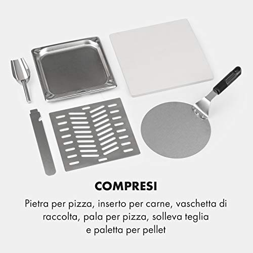 KLARSTEIN Diavolo - Forno a Pellet per Pizza, incl. Pietra Refrattaria da 33x33 cm (13