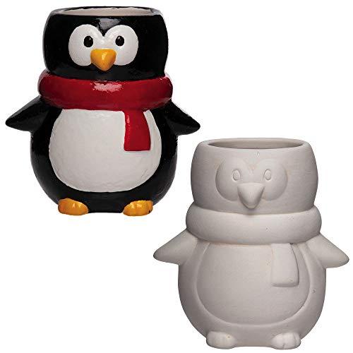 Baker Ross AX349 Pinguin Keramik Blumentöpfe - 2 Stück, Künstler- Und Bastelbedarf Für Kinder Zum Basteln Und Dekorieren Zur Winterszeit