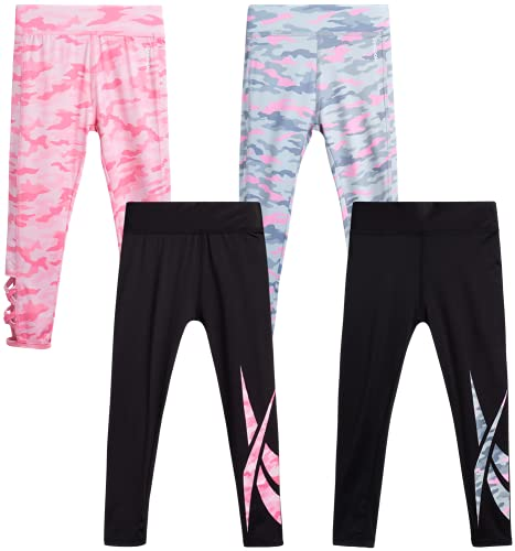 Reebok Girls? Active Solid Color Legging Pants with Mesh Side Pocket (4 Pack), Size 6X, Grey/Coral Camo