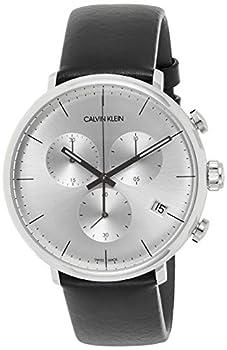 Calvin Klein Men s High Noon K8M271C6 43mm Silver Dial Leather Chrono Watch