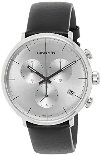 Calvin Klein Herren Analog Quarz Uhr mit Echtes Leder Armband K8M271C6