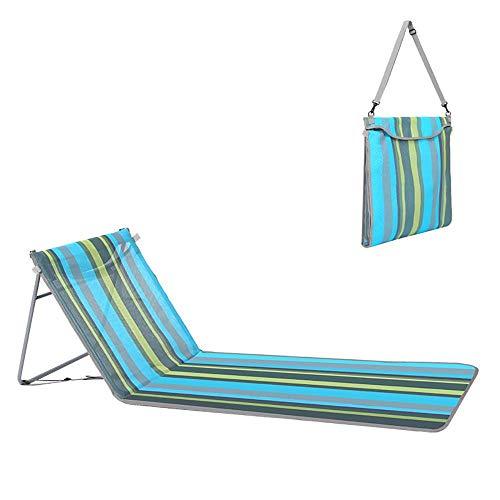 Tumbona plegable, colchoneta de playa con respaldo ajustable, sillas de camping con almohada para el cuello, ligera y conveniente para el jardín, camping