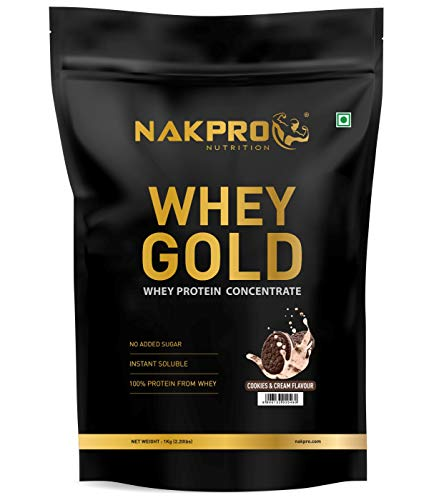 NAKPRO GOLD 100% Whey Protein Concentrate -26g Protein, 5.7g BCAA & 4.4g Glutamine, Whey Protein Concentrate Supplement Powder, 1 Kg Cookies & Cream Flavour - (30 Servings)