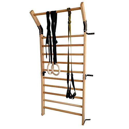 FC FUNCHEER Solid Beech Wood Stall Bar,Swedish Ladder bar with Gymnastic Rings Set and Suspension Training Set with 86.6 inches in Height and 35.5 inches Width,Gymnastic Ladder Wall bar-Pull Up bar